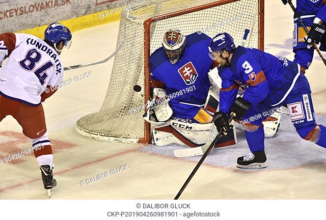 (L-R) Tomas Kundratek of Czech Republic, Juraj Mikus and Martin Stajnoch of Slovakia in action during the Euro Hockey Challenge match Slovakia vs Czech Republic...