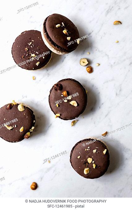 Nougat macarons with hazelnuts