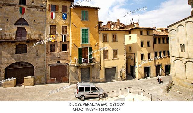 At right Santa Maria della Pieve church, Piazza Grande, Big Square, medieval square, Arezzo, Tuscany, Italy, Europe