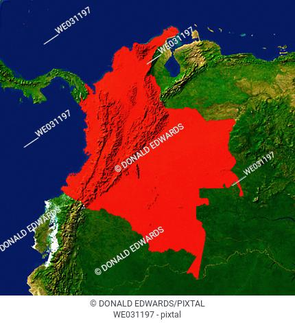 Highlighted satellite image of Colombia