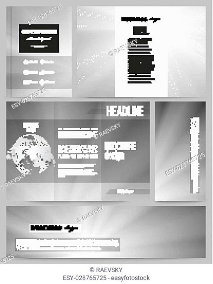 Set of business templates for presentation, brochure, flyer or booklet. Abstract lines background, simple abstract monochrome texture