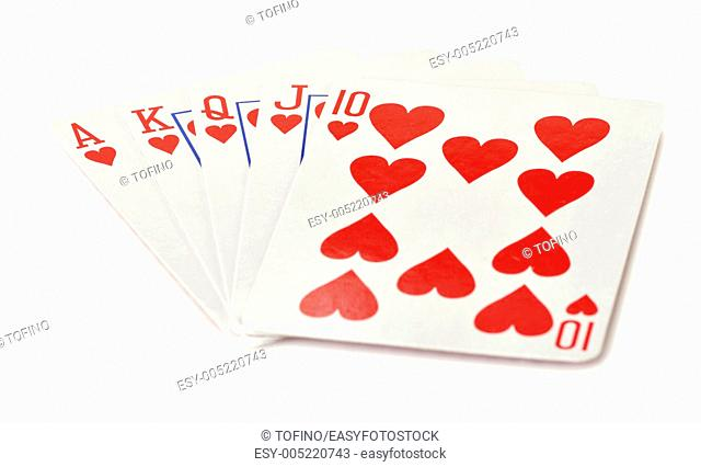 Composition with playing cards on white backgound