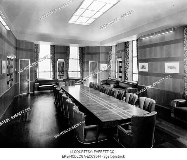 Cincinnati Union Terminal, boardroom, constructed in 1933, partially demolished in 1974, Cincinnati, Ohio, photograph circa early 1970s