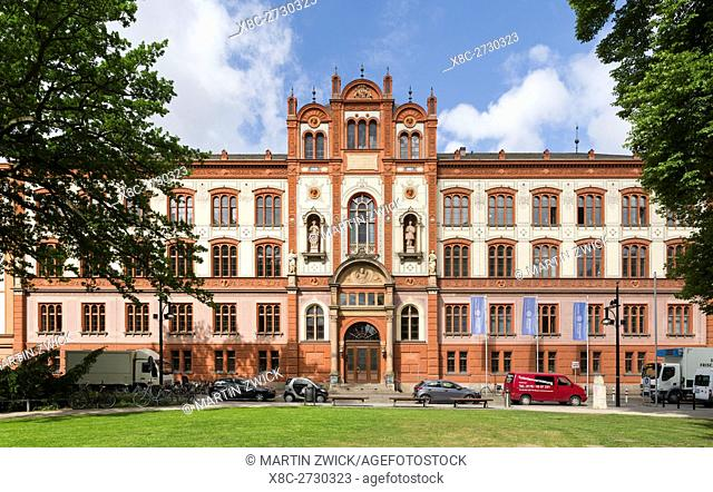 Rostock University, the main building. The hanseatic city of Rostock at the coast of the german baltic sea. Europe,Germany, Mecklenburg-Western Pomerania, June