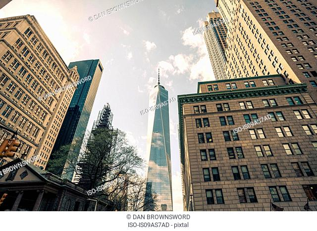 Low angle view of One World Trade Center, Manhattan, New York, USA
