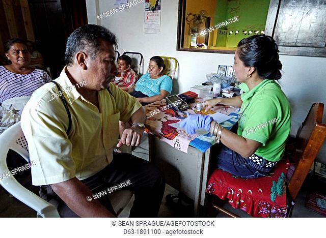 Guatemala. Taking blood to test for diabetes