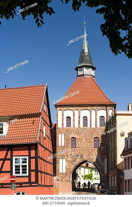 City gate Kuetertor. The Hanseatic City Stralsund. The old town is listed as UNESCO World Heritage. Europe, Germany, West-Pomerania, June