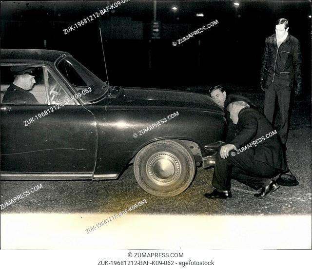 Dec. 12, 1968 - 'Bonnie And Clyde' Gang Car Found: The hunt for the 'Bonnie And Clyde' gang switched to London early today this car - he last gateway car they...