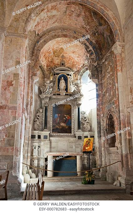 Side chapel with painting and altar at the Norman abbey of Saint Georges de Boscherville in the village of Saint-Martin-de-Boscherville in the Seine-Maritime...