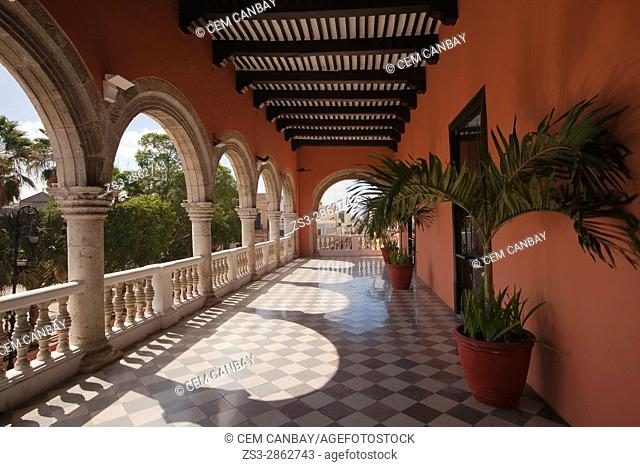 View to the balcony of the Palacio Municipal-City Hall, Merida, Yucatan Province, Mexico, Central America