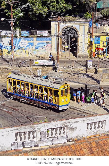 Brazil, City of Rio de Janeiro, The Santa Teresa Tram on Largo dos Guimaraes