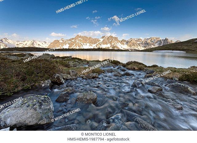 France, Hautes-Alpes, Nevache La Claree valley, the lake Laramon