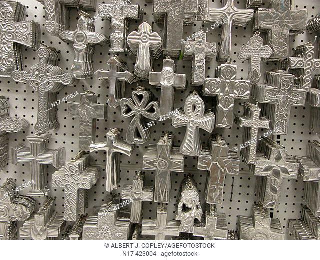 Pewter crosses, Mexico, decorative