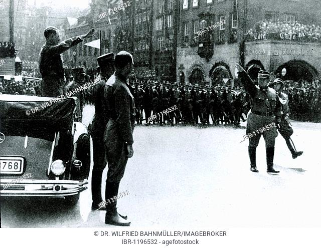 Parade in front of Adolf Hitler, Hermann Goering at the top of the SA, Nuremberg, Bavaria, German Reich, Europe, historical photo circa 1937