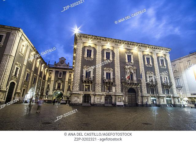 Duomo square Catania by twilight, Sicily, Italy