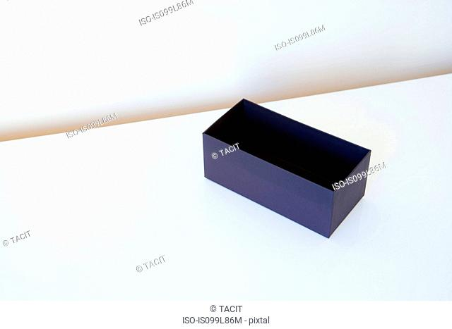 Empty box on white table