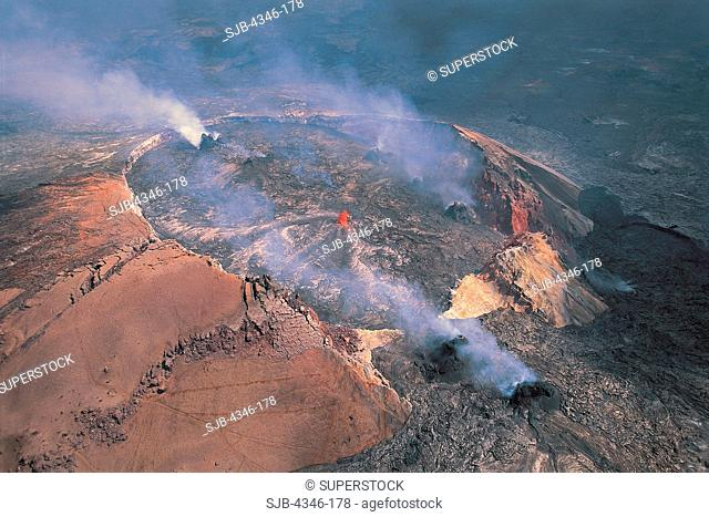 Aerial View of Pu'u O'o Vents and Crater