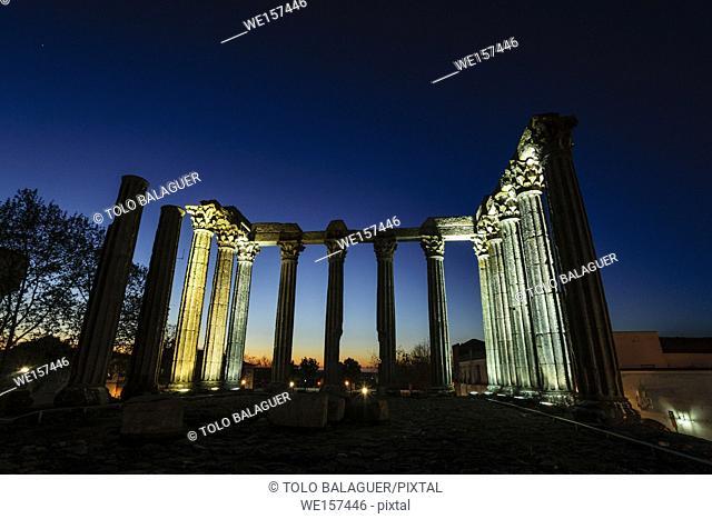 Temple of Diana, Roman temple of Evora, I b. C, World Heritage, Evora, Alentejo, Portugal