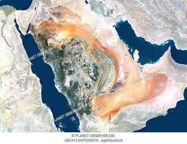 Saudi Arabia, Middle East, Asia, True Colour Satellite Image With Mask. Satellite view of Saudi Arabia with mask. This image was compiled from data acquired by...
