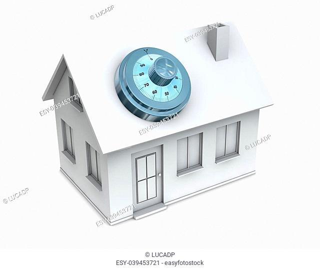 One 3d render of a house with a safe dial coder on the roof. Concept of protection and security