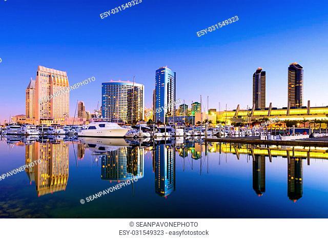 San Diego, California, USA skyline at the Embarcadero Marina