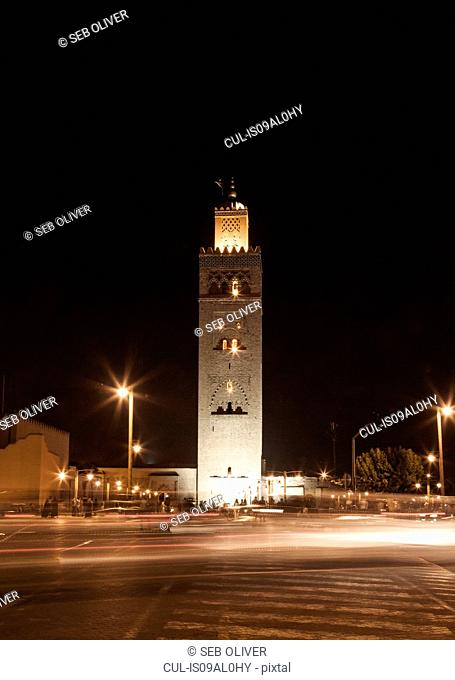 Koutoubia Mosque at night, off Jamaa el Fna Square, Marrakech, Morocco