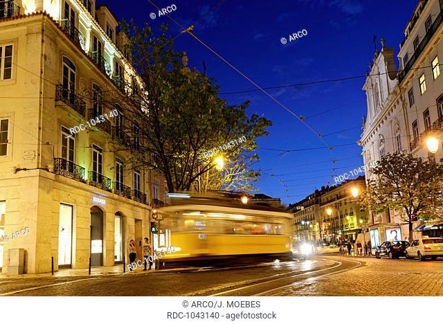 Largo Chiado in the evening, district Chiado, Lisbon, Portugal, Europe / adhesion railway