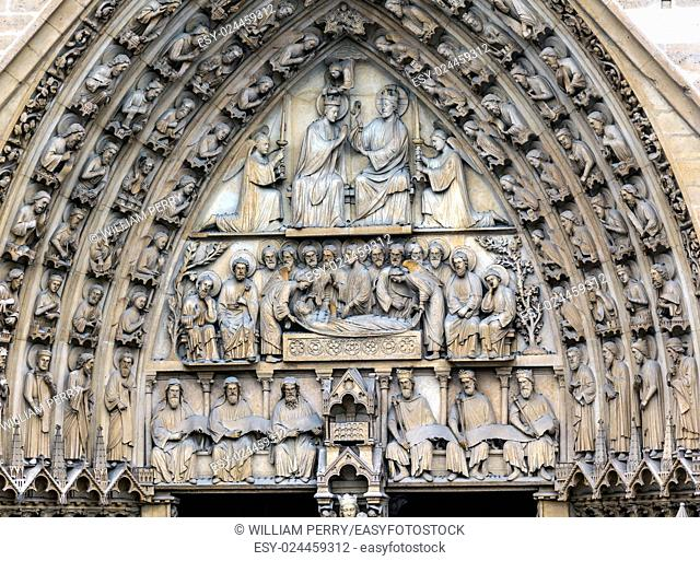 Viirgin Door Portal Biblical Statues Notre Dame Cathedral Paris France. Notre Dame was built between 1163 and 1250AD