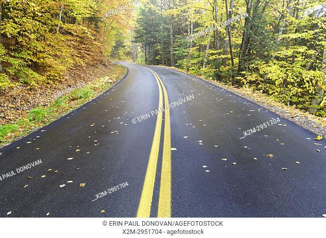 Tripoli Road in Thornton, New Hampshire USA on a foggy autumn morning