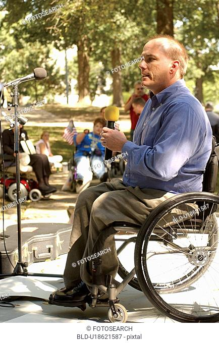Chairman of the Council on Developmental Disabilities speaking at a state-wide Freedom Rally advocating for the civil rights of people with disabilities