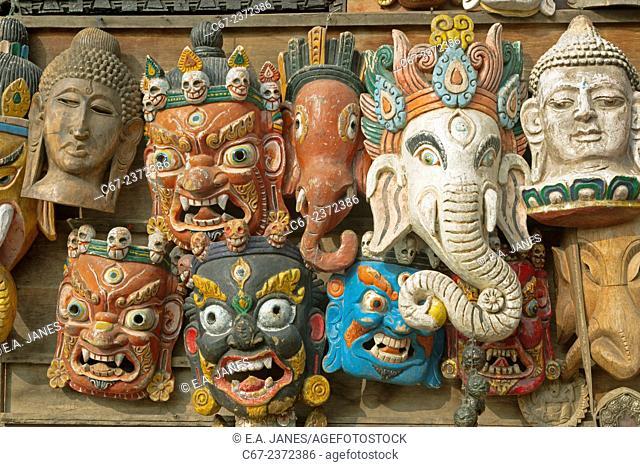 Masks for sale at the Monkey Temple or Swayambhunath Kathmandu Nepal
