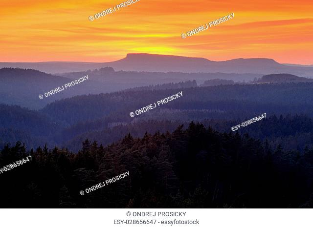 Valley few minutes after the sunset in national park Bohemian Switzerland