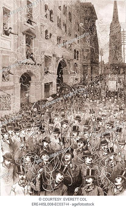 An avalanche of telegraphic tape falls on New York's Wall Street during the 1888 presidential election campaign parade. The first 'ticker tape' parade took...