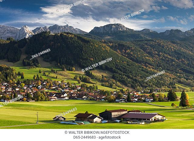 Germany, Bavaria, Berghof, alpine landscape, elevated view
