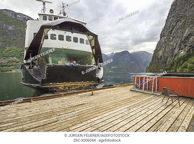 ferry casts off in Undredal, Aurlandsfjorden, Norway, municipality of Aurland, Sognefjorden