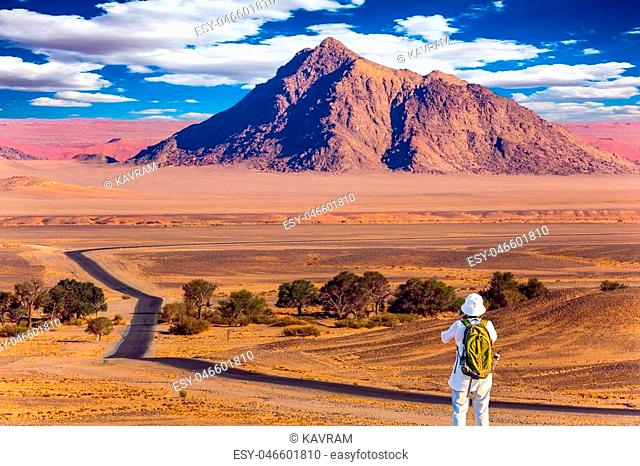 Purple and yellow mountains of the Namib desert. Sunset, Namibia. The concept of extreme and exotic tourism. Elderly woman with a green backpack is taking...