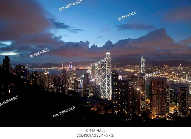 Aerial view of skyscrapers at dusk, Hong Kong, China