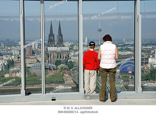 view from LVR tower on the old part of town and Cologne cathedral, Germany, North Rhine-Westphalia, Cologne