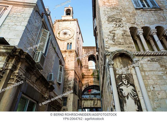 clock tower in old town of Split, Croatia