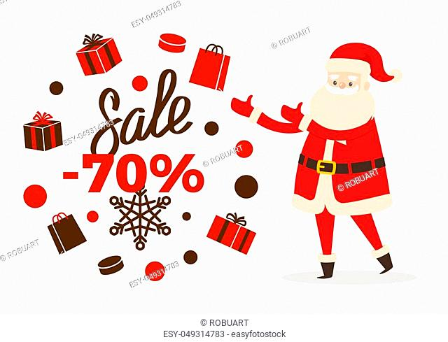 Sale poster up to 70 price reduction, Santa and calligraphic inscription on snowflakes surrounded by gift boxes winter holiday character isolated