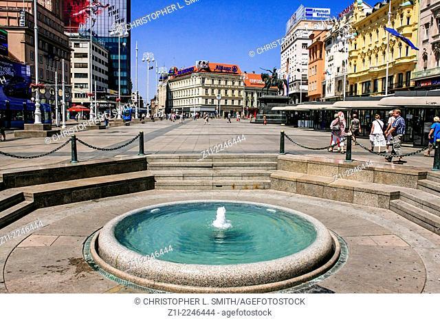 Small fountain in Burza Square Zagreb Croatia