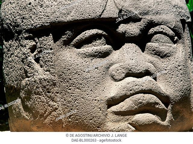 Colossal head, Monument 1, Villahermosa, Tabasco, Mexico. Olmec civilisation, 11th-5th century BC. Detail.  Villahermosa, Parque-Museo La Venta