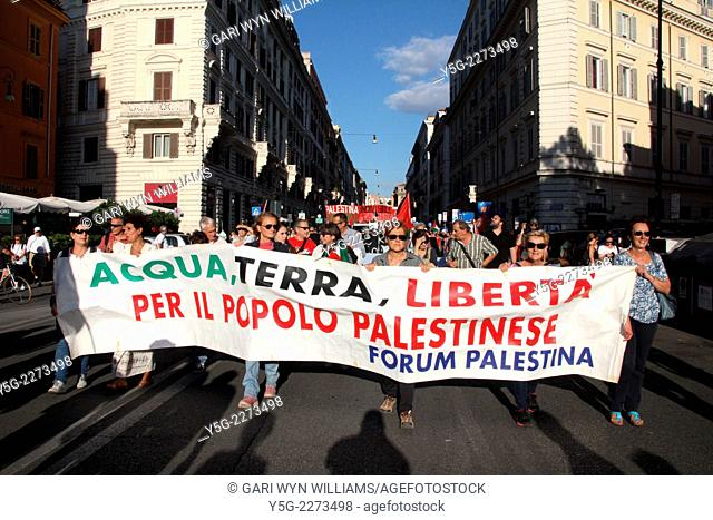 Rome, Italy. 27th September, 2014. Pro Palestine rally in Rome, Italy