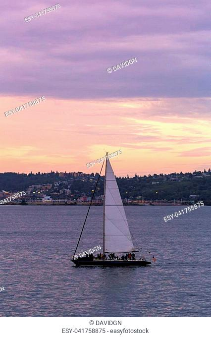 Sailing on the Puget Sound in Seattle Washington during sunset