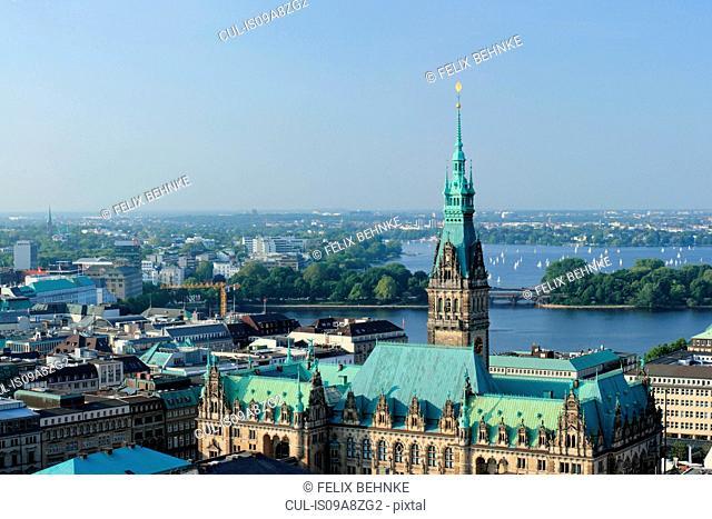 View of City Hall and Lake Alster, Hamburg, Germany