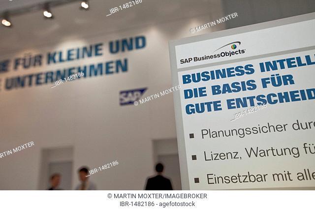 SAP booth, Internationale Computermesse CEBIT international computer fair, Hannover, Lower Saxony, Germany, Europe