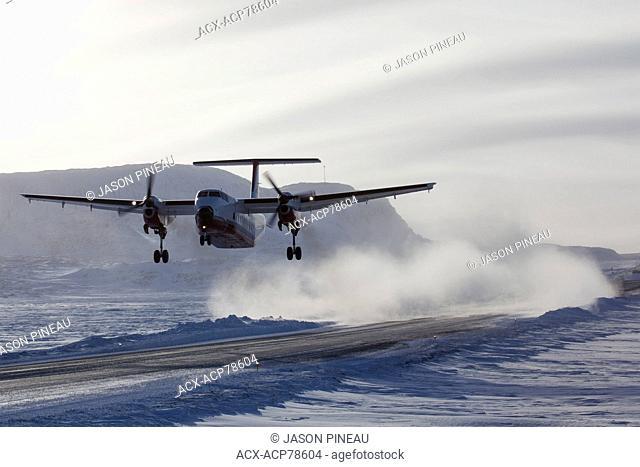 Plane landing in Buffalo, Northwest Territories, Canada
