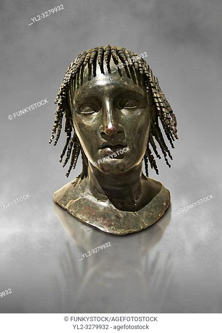Roman bronze sculpture of Ptolomy Apion from the square peristyle of the Villa of the Papyri in Herculaneum, Museum of Archaeology, Italy