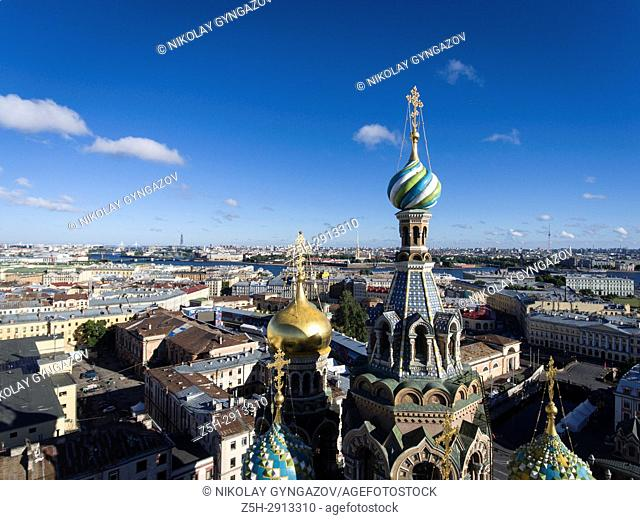 Temple of the Savior on Blood from a bird's-eye view. Saint Petersburg. Russia