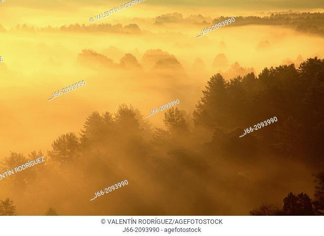 Landscape at sunrise in autumn, Serrania de Cuenca Natural Park. Cuenca province, Castile La Mancha, Spain